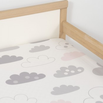 Jadaloo Anti-Dustmite Ultra Soft Junior Fitted Sheet - Pink and White Clouds