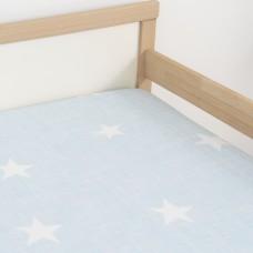 Jadaloo Anti-Dustmite Ultra Soft Junior Fitted Sheet - Blue Stars