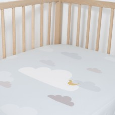 Jadaloo Anti-Dustmite Ultra Soft Crib Fitted Sheet - Blue Clouds