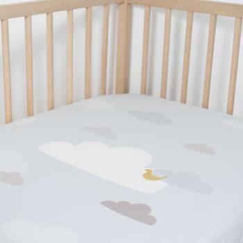 Jadaloo Anti-Dustmite Ultra Soft Crib Fitted Sheet - Blue Clouds