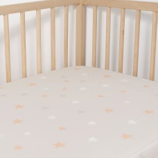 Jadaloo Anti-Dustmite Ultra Soft Crib Fitted Sheet - Beige Stars