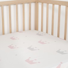 Jadaloo Anti-Dustmite Ultra Soft Crib Fitted Sheet - Cutie Princess Tiara