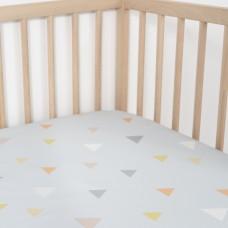 Jadaloo Anti-Dustmite Ultra Soft Crib Fitted Sheet - Blue Triangles