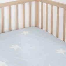 Jadaloo Anti-Dustmite Ultra Soft Crib Fitted Sheet - Blue Stars